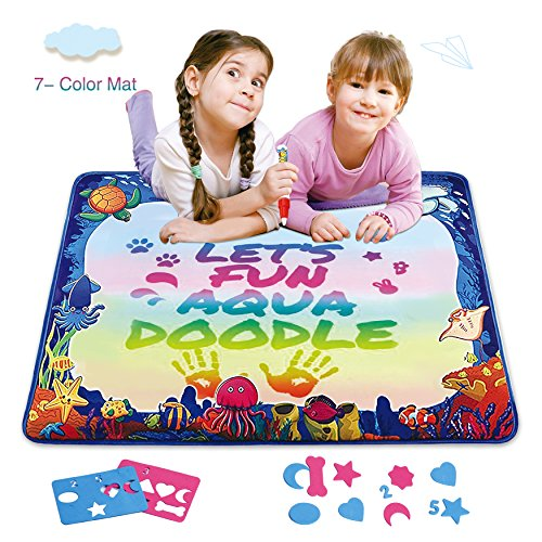 Star Sea Premium Aqua Doodle Mat  7 Colored Water Drawing Doodle Pad For Kids Toddlers  Ocean Magic Mat For Painting  Writing  Best Educational Toys For Childrens Day Gifts