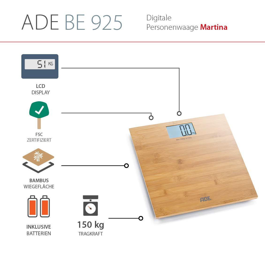 ADE Báscula de baño digital Martina BE925. Balanza personal electrónica hecha en 100% Bambu. Capacidad hasta 150kg. Pantalla LCD. Incluye baterías.