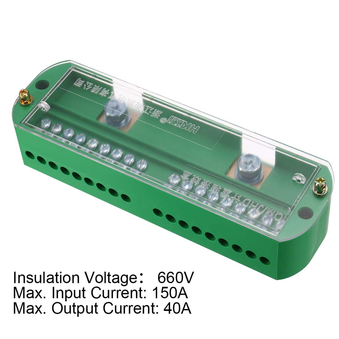 sourcing map 2 Inlet 18 Outlet Terminal Strip Blocks 660V 150A Single Phase Distribution Block for Metering Box