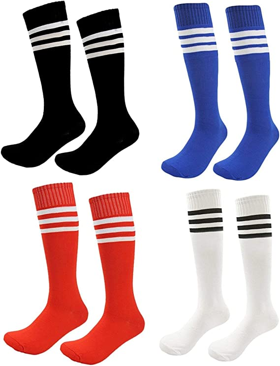 Kids Soccer Socks 4 Pack Boys Girls Cotton Team Socks Teens Children Soccer Socks
