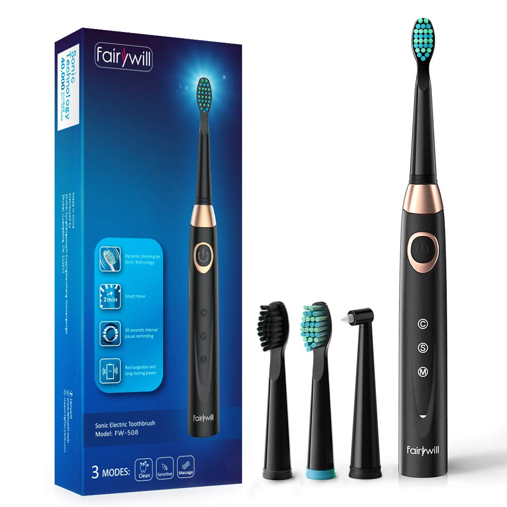 Sonic Electric Toothbrush Rechargeable for Adults – 4 Replacement Heads Orthodontic Cleaning for Braces with 2 Minutes Timer, USB Fast Charging Portable Teeth Whitening Toothbrush Black by Fairywill