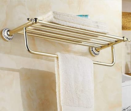 Bathroom Home Accessory  Gold Wall Mounted Towel Rack Rail Holder Storage Shelf