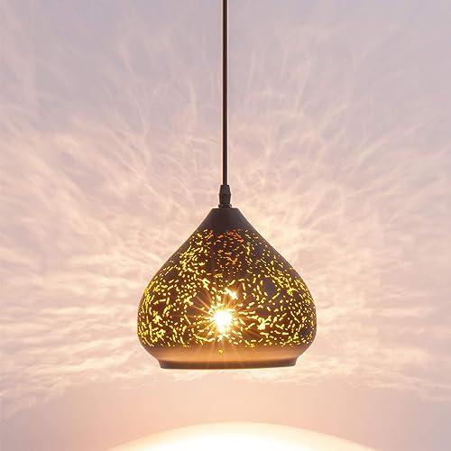 LBTSMUK Industrial Mini Pierced Pendant Light in Handmade Lacquer Finish with Black Metal Shape, Adjustable Edsion Hollow Pendant Lighting Fixture for Restaurant, Bar, Kitchen Island, Foyer, Loft