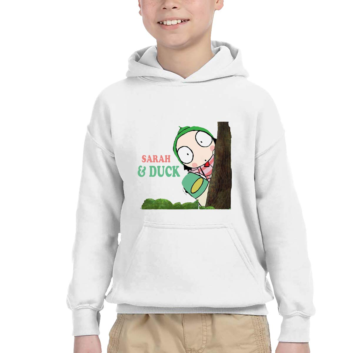 2-6 Year Old Childrens Hooded Pocket Sweater Personality Street Trend Creation Sarah /& Duck Logo White