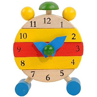 Iusun Wooden Clock, Hand Made Clock Kids Children Learn Time Clock Learning Toy (A): Sports & Outdoors