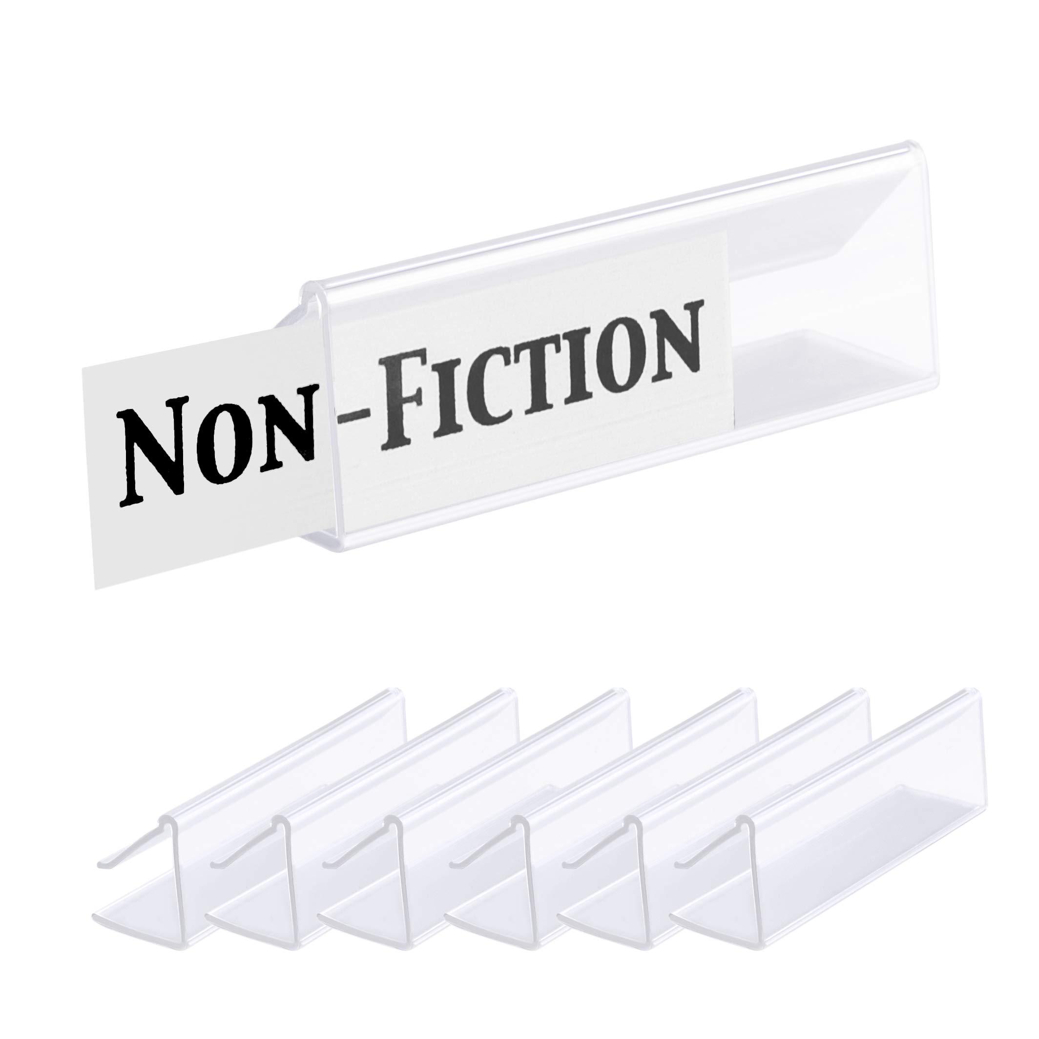 Pack of 25 – Clear Plastic Shelf Label Holder, Wood Shelf Sign and Ticket Holder, Clips On to Shelves 5/8'' to 3/4'' Thick - Length of Label Area, 3'' X Height of Label Area, 7/8''