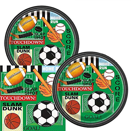 (Classic Sports Themed Birthday Party Plates & Napkins Serves 16)