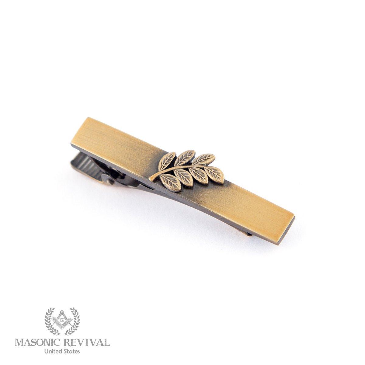 Sprig of Acacia Tie Bar Clip by Masonic Revival (Short / Antique Gold)