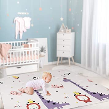 Baby Play Mat Extra Large Baby Floor Mat Anti-Slip Folding Puzzle Mat Playmat for Infants Indoor or Outdoor Use(77x70 inch) Portable Waterproof Non Toxic XPE Soft Foam Mat