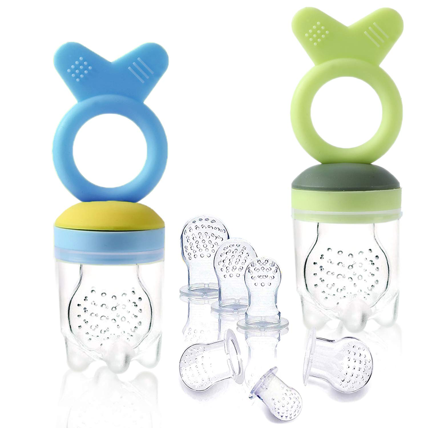 Gedebey Baby Food Pacifier Feeder – (2 Pack) Fruit Silicone with Pacifiers Meshes Infant Toys Fresh Frozen Fruit Toy Newborn Hygienic Nibbler Cover Set
