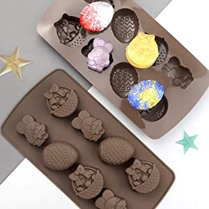 2 Pack Easter Silicone Mold for Candy Chocolate Cake Cookie 8-Cavity Easter Egg Bunny Basket Baking Mold Ice Pudding Jello Mousse DIY Shape Making Tools Non Stick Soft Food Mould