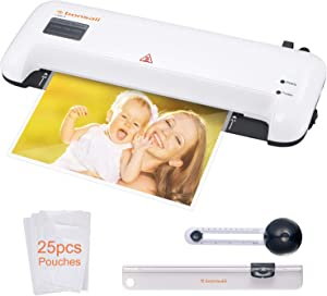 Thermal Laminator, Bonsaii A4 Laminating Machine for Home/Office/School, Quickly Heat Up 9 Inch Hot and Cold Lamination Machine, Includes 25 Laminating Pouches,Paper Trimmer and Circle Cutter (L409-A)