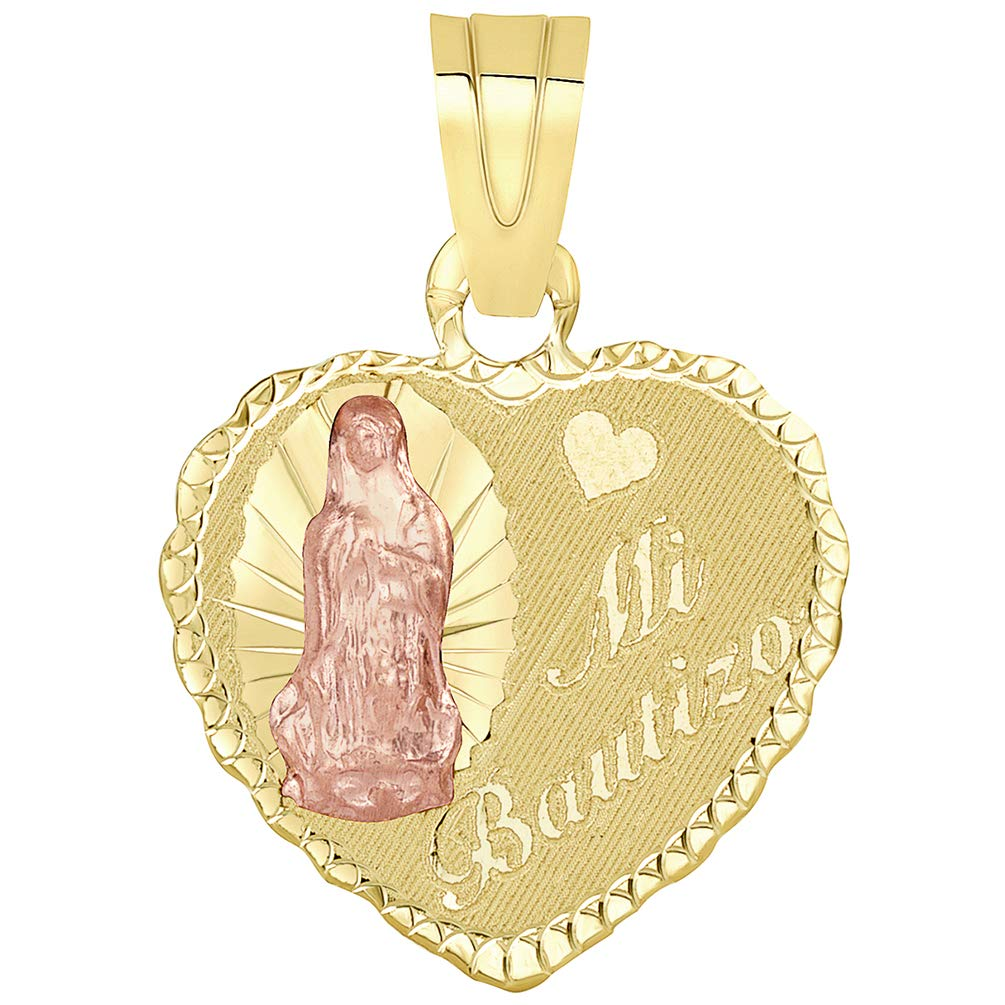 14k Yellow Gold and Rose Gold Heart Shaped Bautizo Guadalupe Pendant Necklace