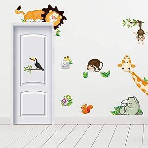 Animal Wall Decals Jungle Adventure Wall Stickers Giraffe Monkey Rhinoceros Lion Zoo Zoological Garden Art Wall Decal for Nursery Home Decor Baby Room (Animal Theme)