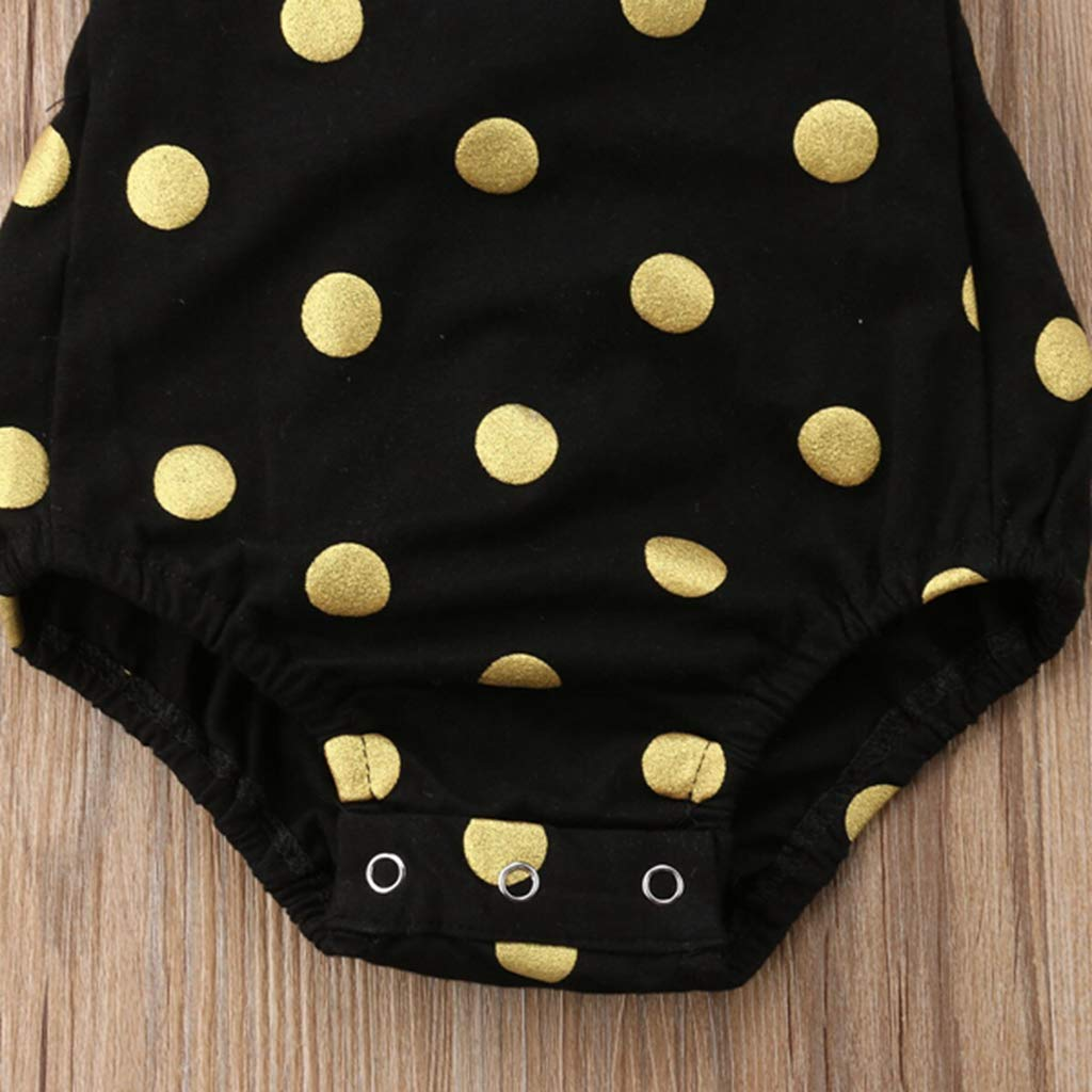 Cute Dot Cotton Newborn Baby Girls Ruffle Sleeve Bodysuit Jumpsuit Headband Clothing Outfit