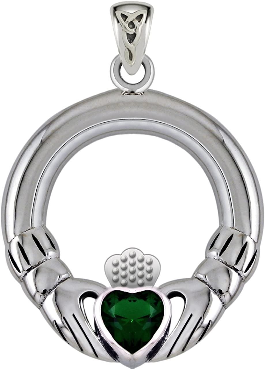 US Jewels And Gems 0.925 Sterling Silver Simulated Imitation Emerald Irish Celtic Claddagh Pendant