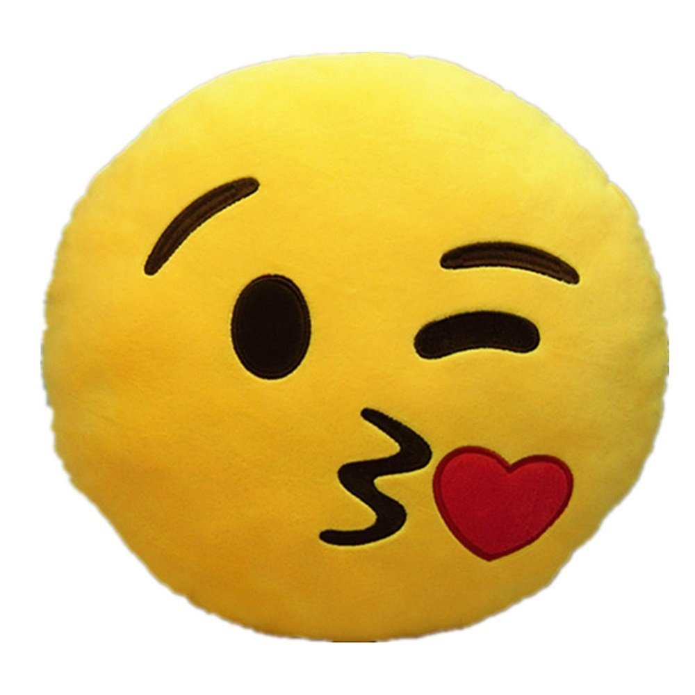 PLUSH & PLUSH TM 4'' Inch Emoji Keychain Smiley Keyring Emoticon Key Chain Soft Plush Stuffed Cushion Accessory (Throwing Kiss)