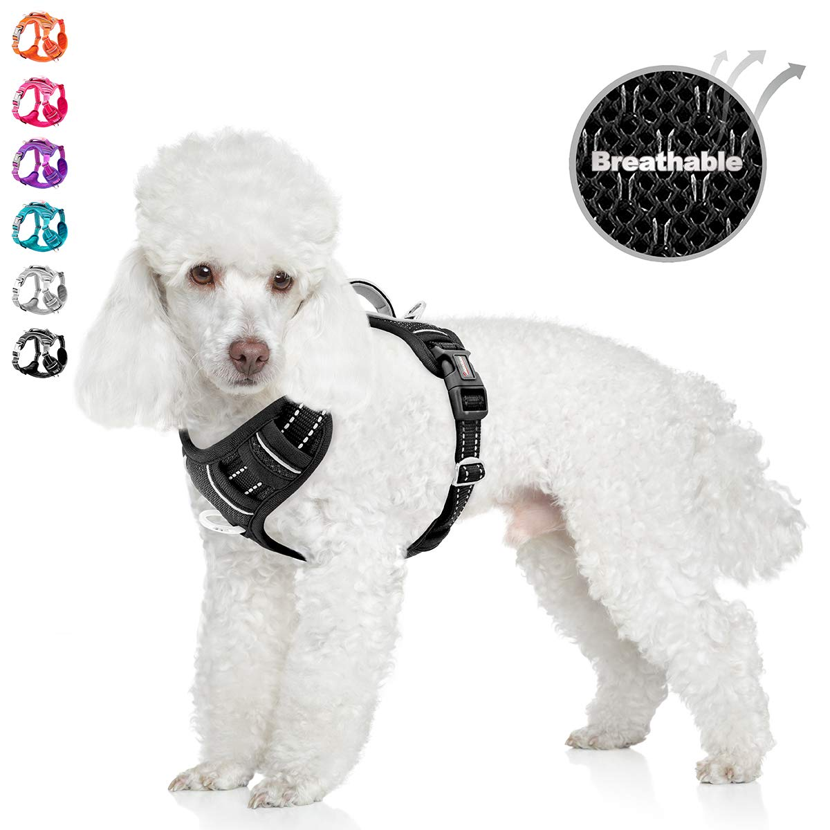 BARKBAY No Pull Dog Harness Front Clip Heavy Duty Reflective Easy Control Handle for Large Dog Walking with ID tag…