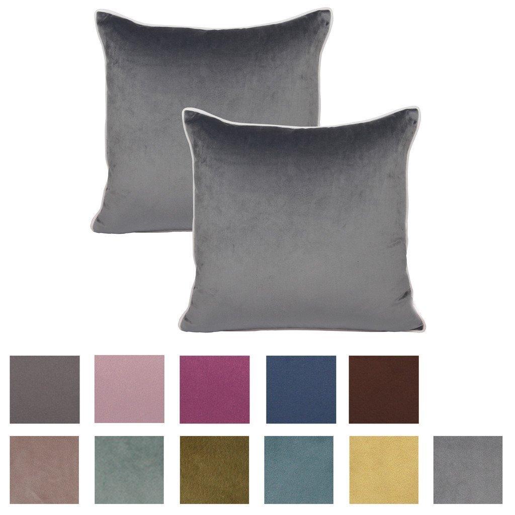 2 fundas de cojín de felpilla, de color sólido y ribetes blancos, de Comoco, Gris, 35x50cm: Amazon.es: Hogar