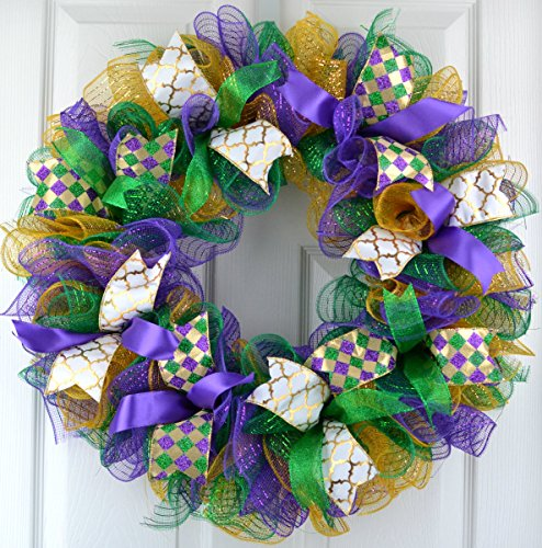 Mardi Gras Fat Tuesday Mesh Door Wreath; purple emerald green gold