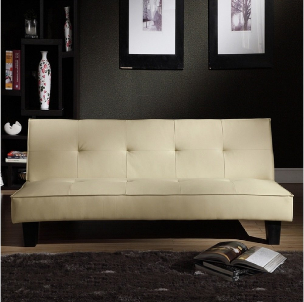 Tribecca Home Bento Beige Faux Leather Modern Mini Futon Sofa Bed, This Modern Futon Is Upholstered with High-quality Beige Faux Leather. Able to Convert to a Bed, This Modern Futon Sofa Bed Has a Hardwood Frame with Legs in an Espresso Finish. by Tribecca Home