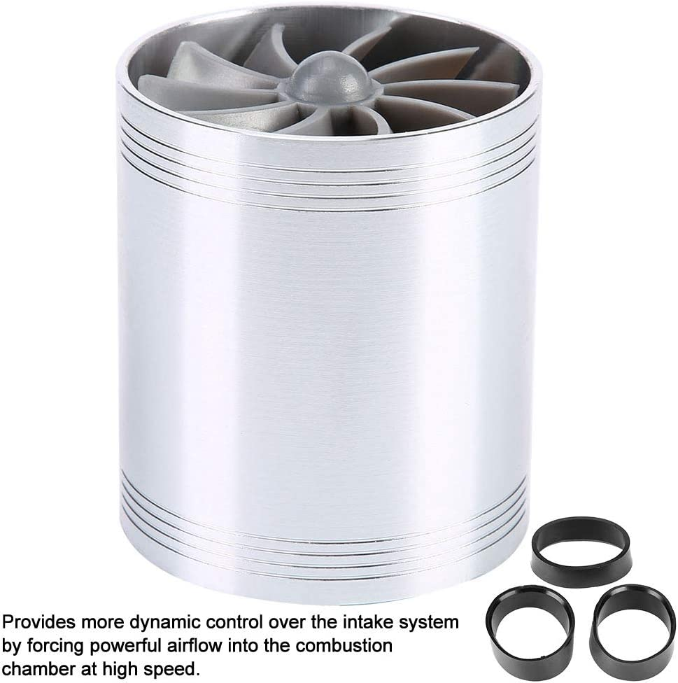 Turbine dadmission dair Akozon alliage daluminium de voiture Blue caoutchouc Turbine dadmission dair Turbine /à double ventilateur Super chargeur /Économiseur de carburant de gaz Turbo