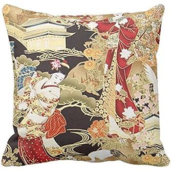 Emvency Throw Pillow Cover Japanese Geisha Fabric Prints Decorative Pillow Case Trendy Home Decor Square 16 x 16 Inch Cushion Pillowcase