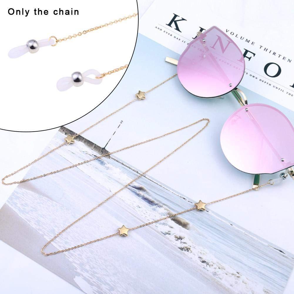 Catene per occhiali da donna Collana per occhiali da sole in metallo Collana Occhiali da lettura Stelle Cavo a catena Occhiali vintage Supporto per occhiali Cinghia Cordini Collana per occhiali