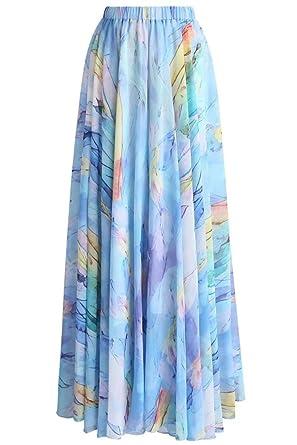 a7f4f54dc Grace Elbe Women's Summer Boho Floral Print Pleated Chiffon Long Maxi Skirt  Dress Light Blue Medium at Amazon Women's Clothing store: