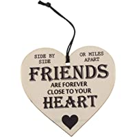 SODIAL Friends Are Forever Wooden Hanging Heart Friendship Gift Shabby Chic Plaque Sign