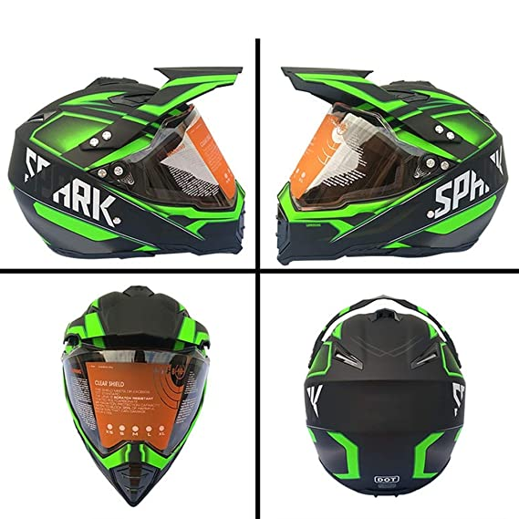 MRDEAR Casco Descenso Integral Ni/ño Casco Motocross MTB Motocicleta Cascos de Cross Set de Protecciones Moto para Quad MX Enduro Negro Mate//Rockstar 5 Pcs
