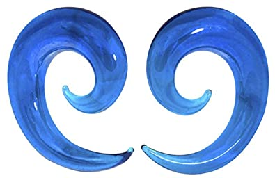 Amazoncom 00 Gauge 10 Mm Blue Ocean Wave Curved Spiral Glass