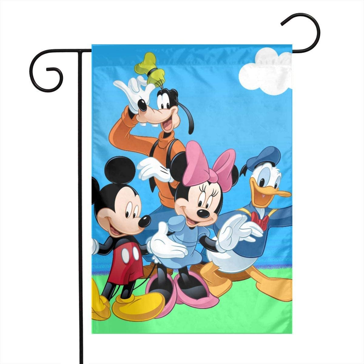 Garden Flag - Donald Duck Mickey Mouse and Goofy Unique Decorative Outdoor Yard Flags for Your Home 12 X 18 Inches - -Fashion Black