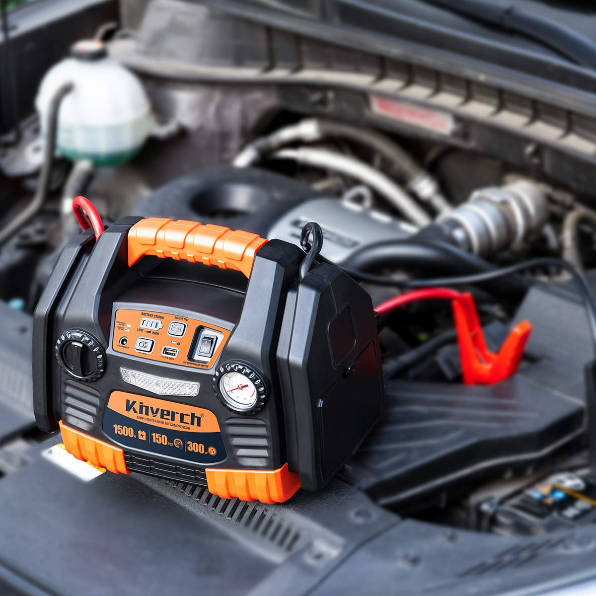 Kinverch Portable Power Station Jump Starter 1500 Peak/750 Instant Amps with 300W Inverter,150 PSI Air Compressor by kinverch (Image #7)