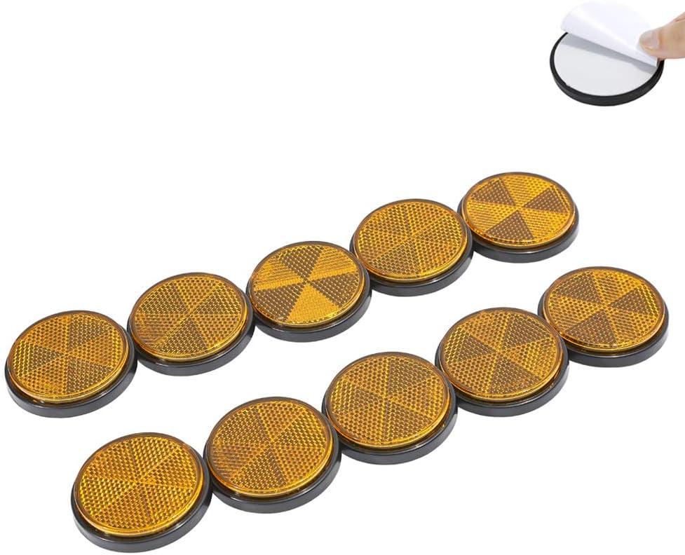 Taeuto 10 X Anhänger Selbstklebend Gelb Rund Katzenauge Reflektor Anhänger Rund Katzenauge Rückstrahler Selbstklebend Katzenauge Reflektor Für Anhänger Wohnwagen Lkw Traktor Reflektor Rund Gelb Auto
