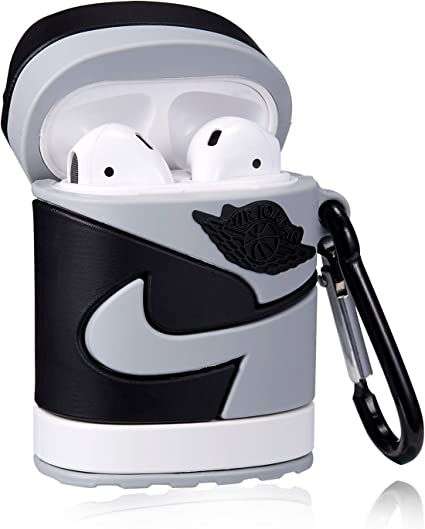 Stylish Designer Cases for Girls Kids Teens Boys Air pods Fun Cool Keychain Design Skin Mulafnxal for Airpods 1/&2 Case 3D Luxury Fashion Sport Style Character Silicone Airpod Cover Black Right