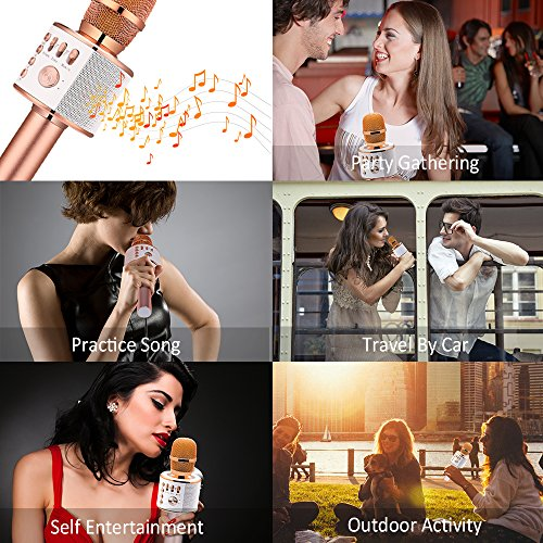 BONAOK Wireless Bluetooth Karaoke Microphone, Easter Gift 3-in-1 Portable Hand Speaker for iPhone/Android/iPad/Sony,PC and All Smartphone(Rose Gold) - Image 5
