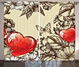 Love Decor Curtains Pattern ValentineS Day With Flowers And Butterfly Holiday Love Antiquity Living Room Bedroom Decor 2 Panel Set