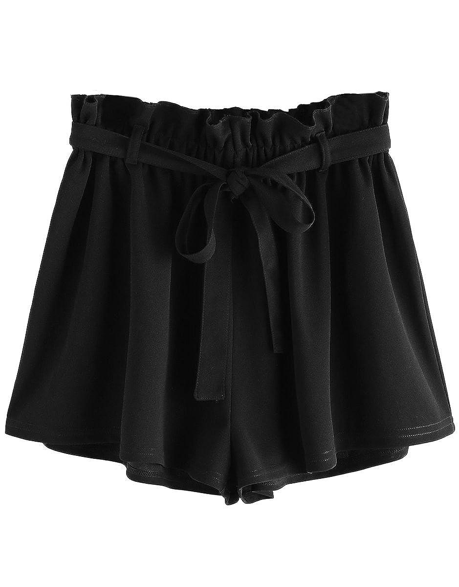 Black Romwe Women's Casual Elastic Waist Summer Shorts Jersey Walking Shorts