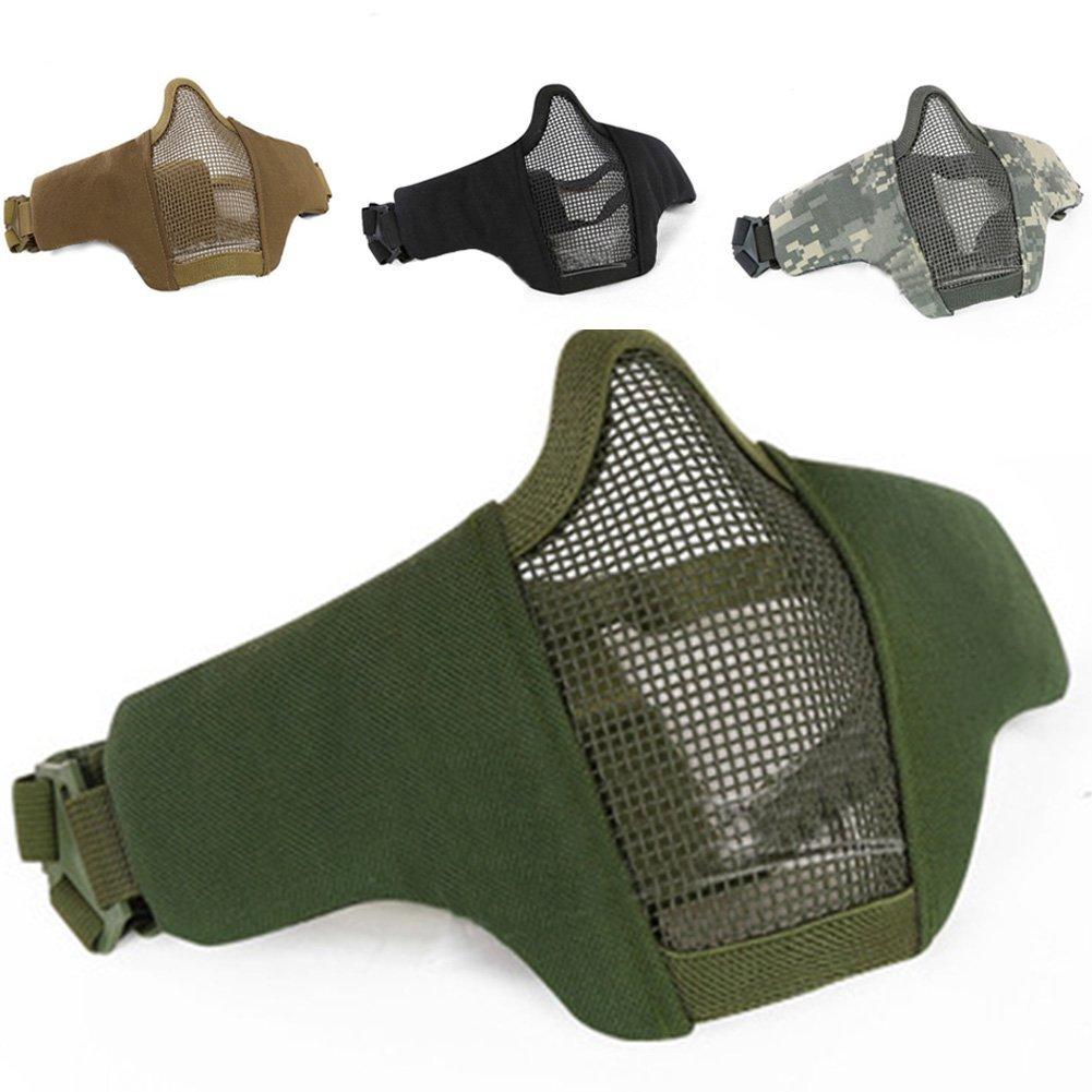 OSOPOLA Tactical Airsoft Mask Foldable Steel Mesh Lower Half Face Mask For Hunting Paintball Shooting