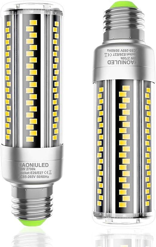 Bombillas LED E27 Luz Blanco Cálido 20W Equivalentes Incandescente Bombillas 200W, Bombilla Maíz E27 Led 2700K 2500LM lampara bombilla Led E27 No Regulable, 2 unidades