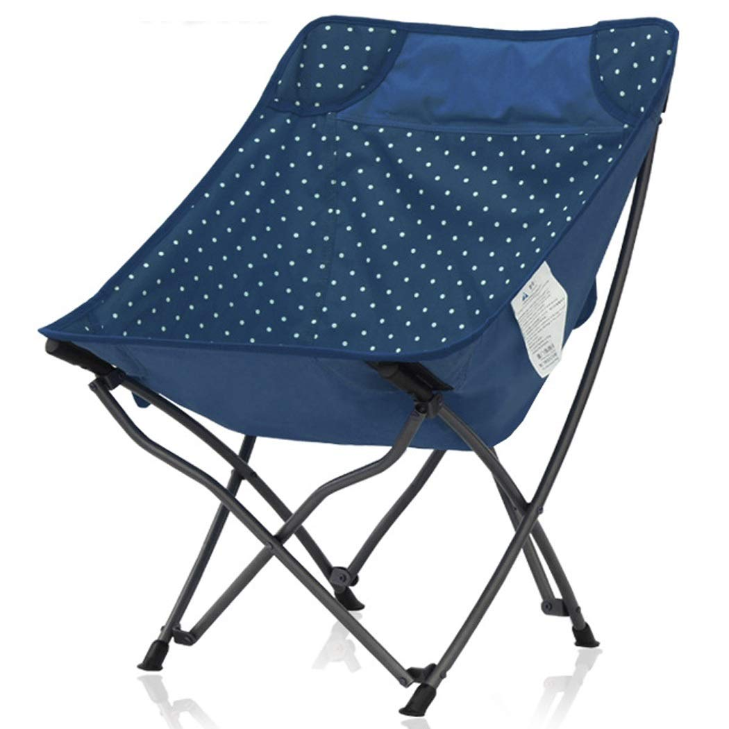 Folding Chair Outdoor Portable Folding Chair Portable Simple Mazar Beach Camping Moon Chair Fishing Stool (Color : Blue, Size : 4137cm)