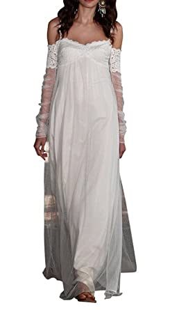 792759aa3152 HotDresses 2016 Bohemian Lace Beach Wedding Dresses Bridal Gowns with Long  Sleeves(US 2