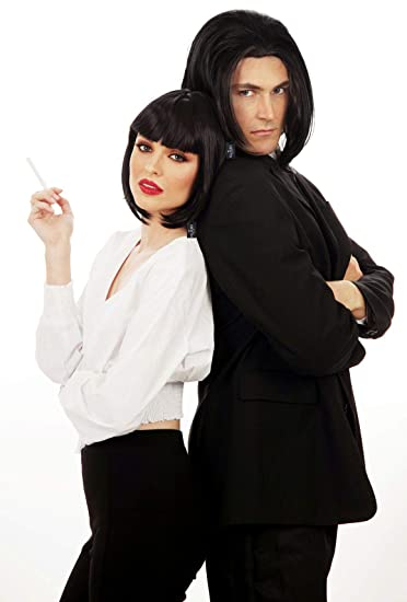 Amazon.com: Vincent Vega Wig Pulp Fiction Costume Black Wigs Men Mia Wallace: Clothing
