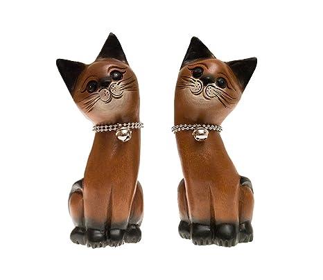 ROMBOL Gatos, par, Sentado, Madera, Madera Escultura, Decorar, Decoración,