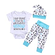 WARMSHOP 3PC Newborn Boys Girls Letter Print Cotton Short Sleeve Romper Tops Blouse+Cartoon Print Long Pants+Hat Outfit Clothes (0-6 Months, White)