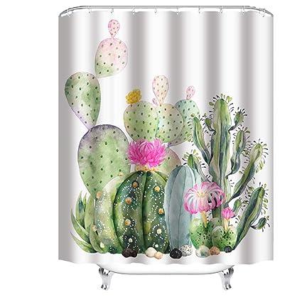 Amazon Cheerhunting Colorful Cactus Shower Curtain Bathroom
