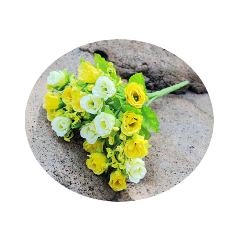 人工シルクローズの花 21本 ウェディングパーティー 花 ホームデコレーション ブーケB B07Q4SV9GK
