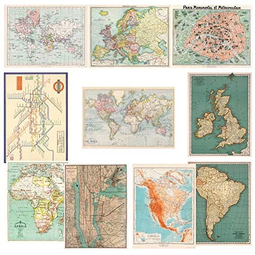 Monolike Vintage Poster and Wrapping Paper, World map Design 10 Sheets from Monolike