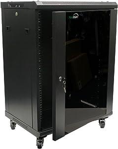 NavePoint 15U Wall Mount Network Server Cabinet Rack Enclosure Glass Door Lock w/Casters